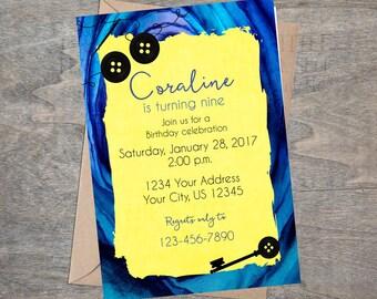 Coraline inspired invitation | Birthday Party Button Eyes Other Mother Digital Printable skeleton key