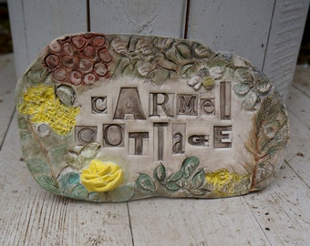 Bespoke, Ceramic House Name Sign or Number Plaque, garden sign, plant decoration, allotment sign