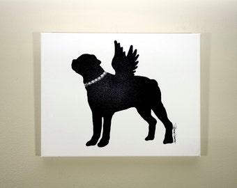 Rottweiler Angel Painting (14x11) Rottweiler Art, Rottweiler Gift, Dog Painting, Dog Art, Dog Gift, Angel Art