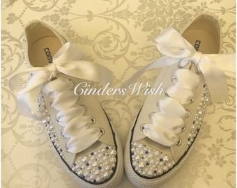Pearl and Navy Converse / Wedding converse / Bridal chucks / Bridal converse / Crystal shoes/ bridesmaid converse / pretty converse