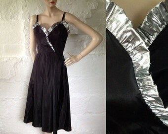 1970s 'Radley' Black Party Dress with Silver Ruffle / 70s Evening Dress / Vintage Party Dress / SIZE UK 10