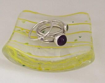 Handmade Fused Glass Trinket/Tea Light Dish - Various Colours