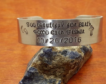 Handstamped aluminum  cuff-memorial bracelet-loss of infant cuff bracelet-loss of baby-Remembrance gift-miscarriage