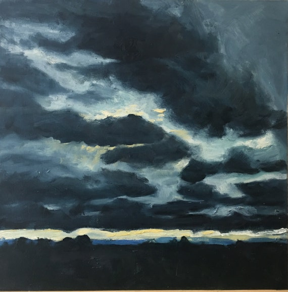 "Sorry- This item is SOLD.  Original Oil Painting: Enfield Sky, oil on canvas, 18"" x 18"""