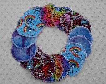 MADE TO ORDER Reusable Breast Pads - organic bamboo velour - hand dyed or undyed - regular size - washable and reusable