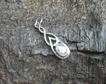 Sterling Silver Celtic Rhinestone CZ Charm Necklace Pendant