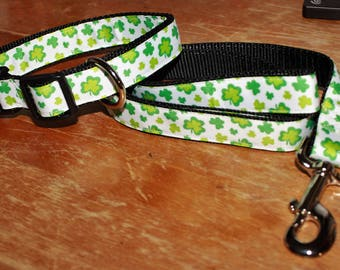 ST PATRICK - SHAMROCK Plastic Buckle Collar with Matching 4 foot Leash