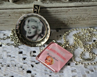 "Two. Marilyn Monroe. necklaces. Handmade. Cute set! ""It's better to be absolutely ridiculous than absolutely boring."""