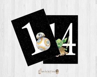 Star Wars Wedding Table Numbers Printable Signs Ceremony Party