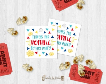 Popcorn Thank You Tags Birthday Party Carnival Circus Movie Cinema Kids Party Favor Tags Printable Digital File