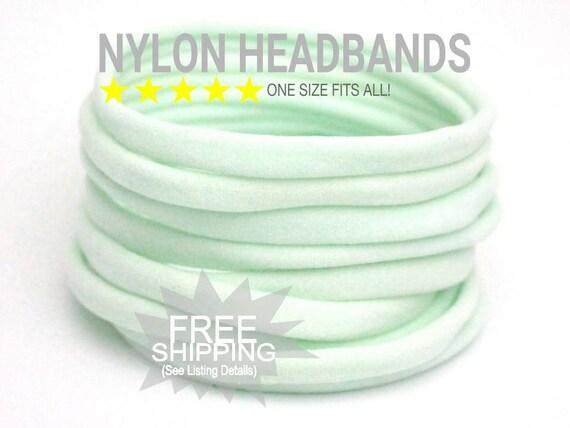 MINT Bulk Nylon Headbands / WHOLESALE Nylon Baby Headband / Wholesale Spandex Headband / Skinny Very Stretchy One Size Fits most Nylon