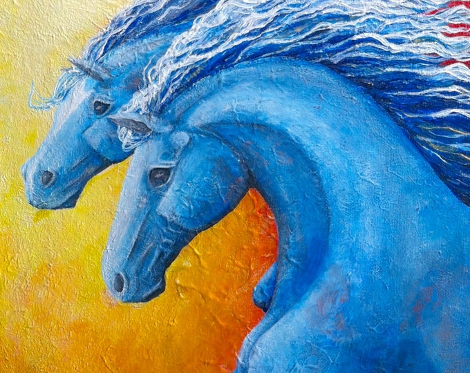 Original running horses painting on canvas, colorful horse wall art, abstract horse artwork by Nancy Quiaoit at Nancys Fine Art.