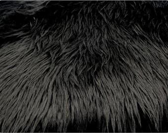 Black Luxury Shag Faux Fur Fabric