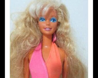 Used Doll Vintage Barbie Doll 1989 Wet'n Wild *Barbie* Super Long Hair mattel