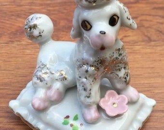 CIJ Poodle Figurine on Pillow 1950s Japan