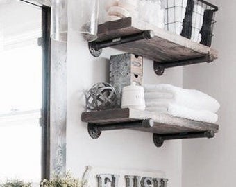 Set of 2 industrial farm house shelves