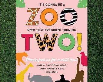 Girls Zoo Themed 2nd Birthday Invitation (Animals / Safari / Jungle Theme)