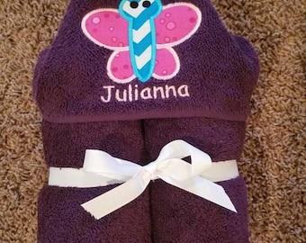 Personalized Butterfly Purple Hooded Towel