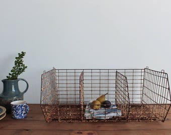 Vintage Rustic Large Rusted Metal Wire Storage Basket