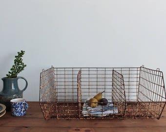 Vintage Rustic Large Rusted Metal Wire Storage Basket
