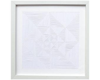 White on White Handmade Papercut // Geometric Papercut // Minimalist Paper Art // Abstract Wall Art