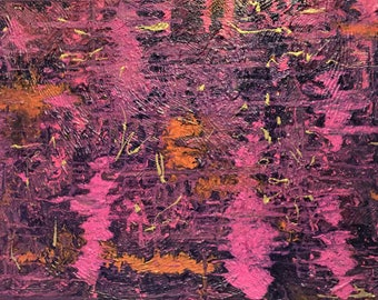"36"" x 48"" Framed Original Painting, Pink, Purple, Orange Acrylic Ink Painting on Canvas, Ready to Hang"