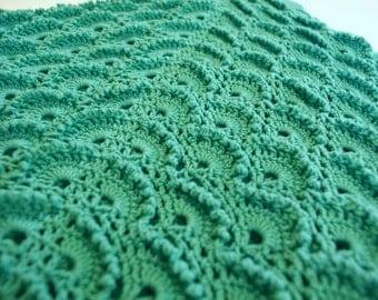 Crochet Baby Blanket, Turquoise Baby Blanket, White baby blanket, Baby Boy Blanket, Baby Girl Blanket, Turquoise Crochet Blanket