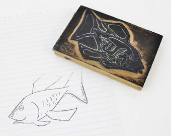 Large Rubber Stamp Vintage Fish Stamp, Fish Rubber Stamp, Vintage Wooden Stamp, Rustic Scrapbook Stamps, Wood Block Stamps, Old School- E271