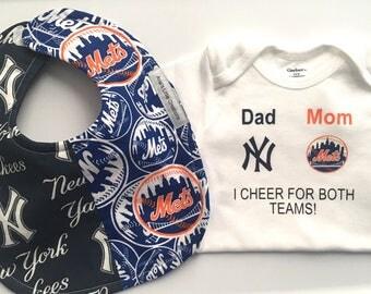New York Yankees- Mets Bodysuit and Bib, Mets-Yankees, New York Mets and Yankees Baby Bib and Bodysuit 2pc