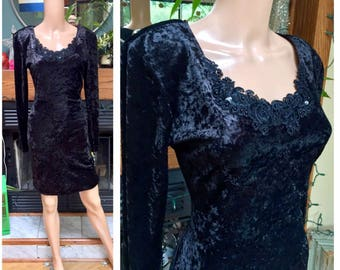 Vintage 80s 90s Crushed Velvet Bodycon Grunge Goth Stretch NWT All That Jazz Party Prom Dress M