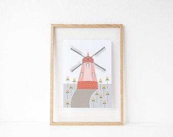 """Solvang Windmill Print, 5"""" x 7"""""""