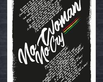 BOB MARLEY - No Woman No Cry - Lyrics print