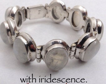 Taxco 925 Moonstone Bracelet Eight Beautifully Matched Natural Stones Classic.