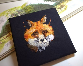 Fox wall art. Textile art. Embroidered art. Nature embroidery. Original needlework. Canvas. Thread painting. Original art