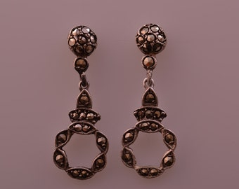 Silver Vintage Drop Stud Earrings With Marcasite (135x)