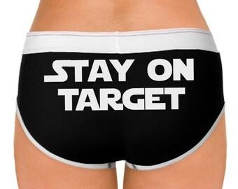 Star Wars inspired undies - Stay on target - imperial cog on the front - super cute boyfriend style undies