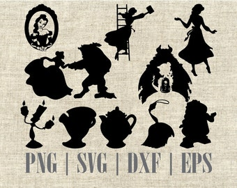 Beauty And The Beast Silhouette SVG Cut File Digital Clipart Editable Vector