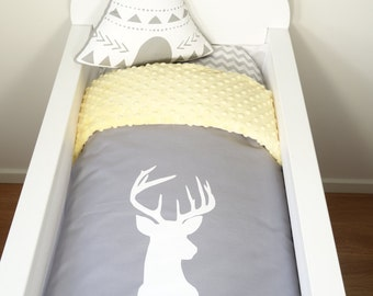 Bassinet set - Grey and yellow deer head