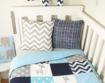 Patchwork quilt nursery set - Shades of blue, navy and grey giraffes (Baby blue minky quilt backing)
