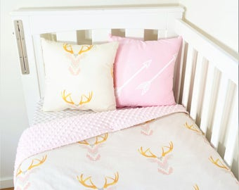 Pink woodland deer nursery set