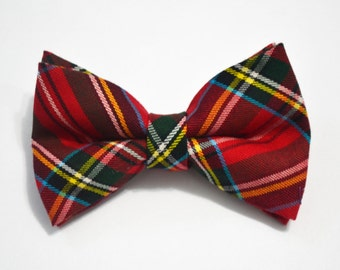 Christmas Red and Green Plaid Bow Tie For Boy/Baby/Teen/Adult/With Adjustable strap/Clipon