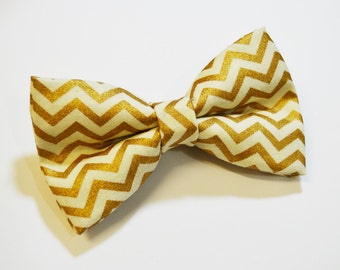 Gold Chevron bow tie -Adult Bow Tie-Boys Bow Ties-Gold Bow Tie-Wedding Bow Tie-Clip on Bow Tie-Bow Ties For Men-Bow Ties