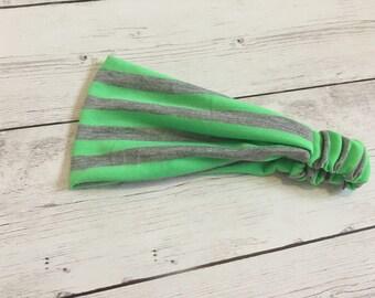 Neon Green and Grey Striped Headband, Yoga Headband, Headwrap, Women's Headwrap, Exercise Headband, Neon Stripes