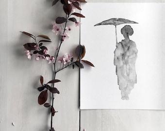 Geisha Silhouette Japanese Art Print, Asian Girl Drawing, Pastel Gray Charcoal Illustration, Grey Umbrella Spring rain Japan Woman Figurine