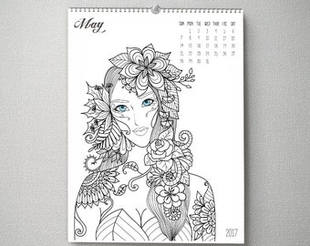 2017 Coloring Book Wall Calendar, 11x14, Wall Calendar, Watercolor Flower Gifts for Her  (cal0044)