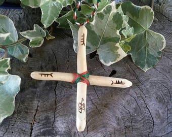 Holly Cross - Protection Talisman - Wooden Cross - Amulet - Anti Nightmare Charm - Talisman Cross - Protection Cross