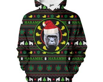 Harambe Christmas Sweater Hoodie- meme Hoodie, Harambe Hoodie, Christmas sweater