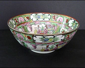 Famille Rose Medallion Chinese Export Porcelain Bowl - Classic Asian - Made in Macao