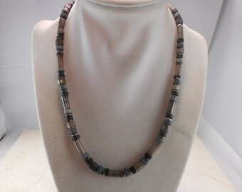 Men's Rustic Silver Toned Metal and Stone Beaded Necklace 18 inch