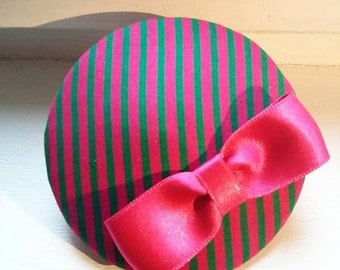 pink & green striped headpiece